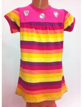 Yeni Sezon Renkli Çizgili Kız Çocuk Elbise