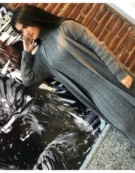 Tesettür Giyim Gri Uzun Siyah Triko