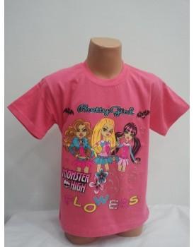 Barbie Baskılı Koyu Pembe Kız Çocuk T-Shirt