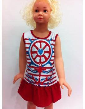 Denizci Kırmızı Kız Çocuk Elbise