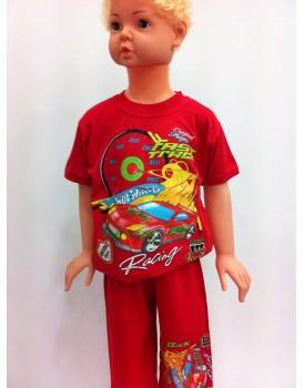 Baskılı Kırmızı Erkek Çocuk Şortlu Takım