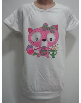 Beyaz Baskılı  Kız Çocuk T-Shirt
