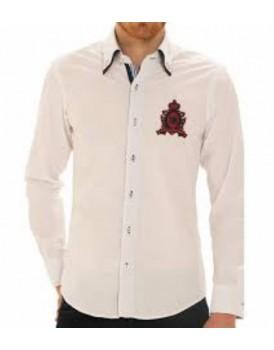 Beyaz Armalı Erkek Gömlek