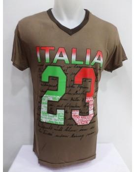 Kahverengi Baskılı Erkek T-shirt