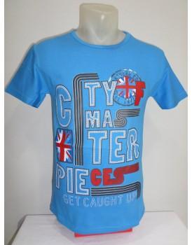 Açık Mavi Baskılı Erkek T-shirt