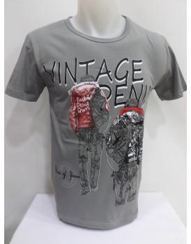 Gri Baskılı Erkek T-shirt