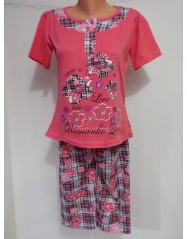 Baskılı Kaprili Bayan Pijama Takımı