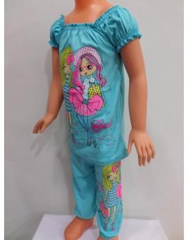 Baskılı Kaprili Kız Çocuk Pijama Takımı