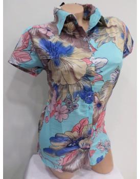 Desenli Kısa Kol Bayan Gömlek