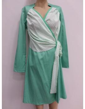 Yeşil Beyaz Mevsimlik Bayan Elbise